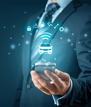 Intelligent car, intelligent vehicle and smart cars concept with smart phones. Symbol of the car and information via wireless communication about security, parking location, fuel, drive analysis, service and car settings.